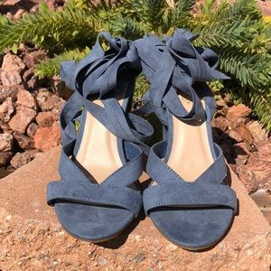 Shoedazzel Light Blue Natty Block Heels